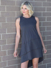 Dylan Raw Edge Charcoal Dress