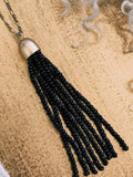 Mini Beaded Fringe Pendant Necklace