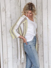 striped tassel hem duster cardigan