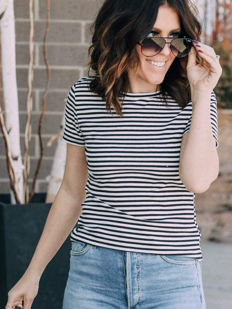 Free People Striped Baby tee