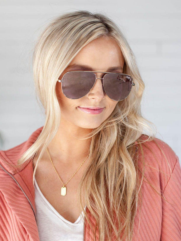 Quay Gold Aviator Sunglasses
