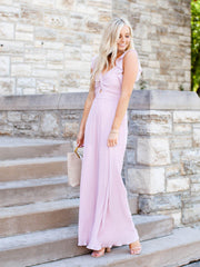 ASTR Pleated Ruffle Jumpsuit