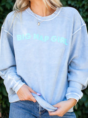 Washed Pullover Nap Girl Sweatshirt
