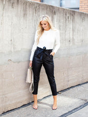 Faux Leather Paperbag Pant