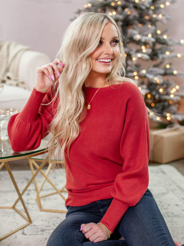Ribbed Balloon Sleeve Boat Neck Pullover