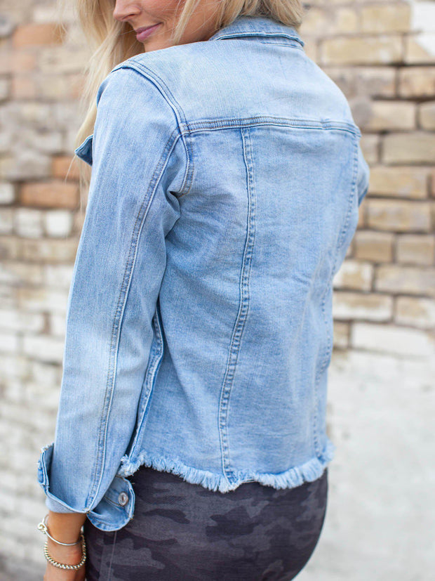 KanCan Fray Hem Destructed Jacket