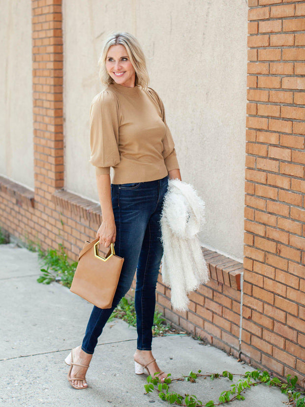 Mock Neck Balloon Sleeve Knit Top