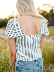 Saltwater Luxe Vanilla Mood Stripe Short Sleeve Top
