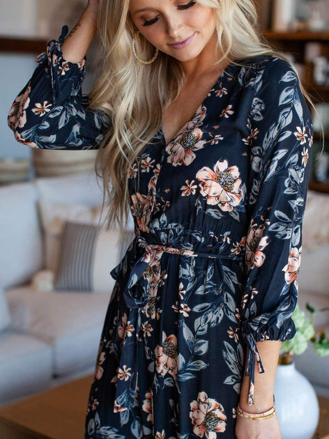 Saltwater Luxe Floral Wrap Style Maxi Dress Leela And