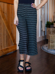 striped cropped casual pant