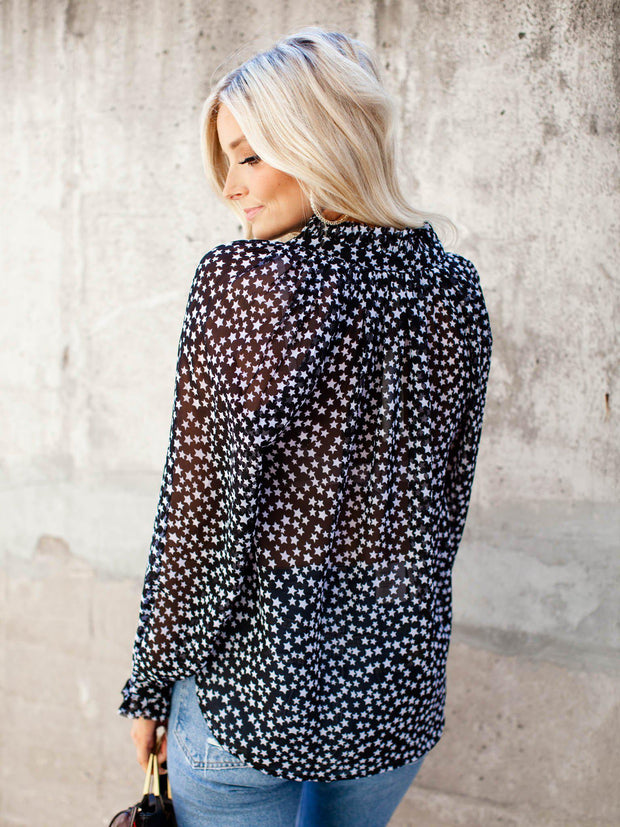 Printed Tie Front Star Blouse
