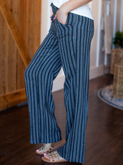 striped casual wide leg pant