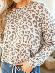 Socialite Drop Shoulder Oatmeal Cheetah Cinched Drawstring Waist Top