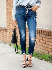 Kancan Exposed Button High Rise Destructed  Skinny Jean