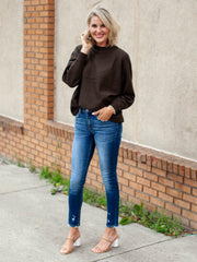 Kancan Mid Rise Destructed Skinny Jeans