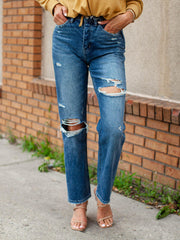 Flying Monkey High Rise Destructed Straight Denim