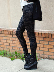 SPANX Faux Leather Matte Black Camo Leggings