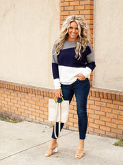 Color Block Knit Crew Neck Sweater