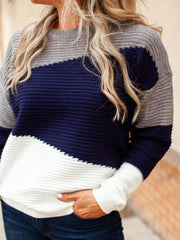 Grey and Navy Color Block Sweater
