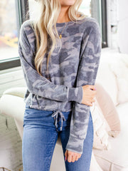 Camo Brushed Long Sleeve Top
