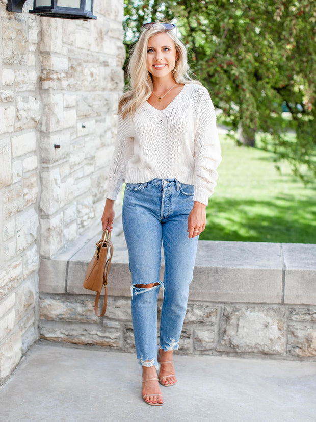 cropped ivory ruched sleeve sweater