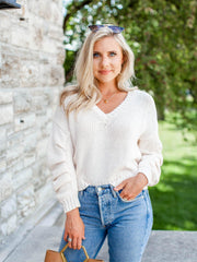 ASTR ivory cable sweater