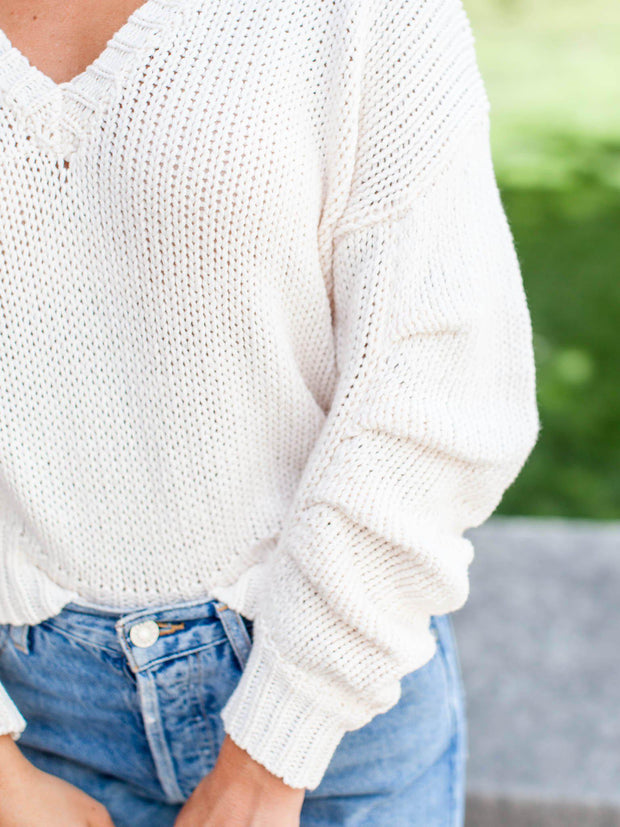ASTR Ruched Sleeve Sweater