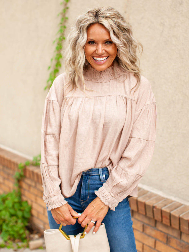 Ruffle High Neck Blouse