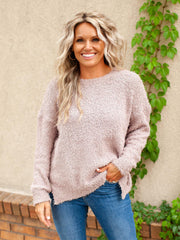 Round Neck Shag Sweater