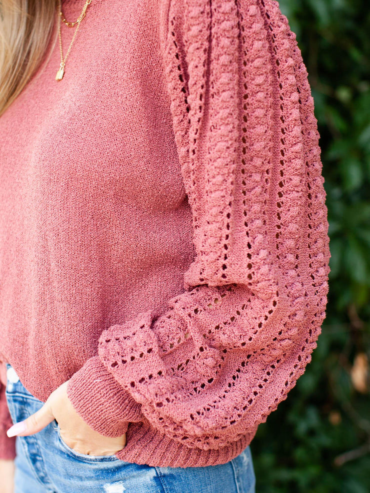 Popcorn Knit Puff Sleeve Top