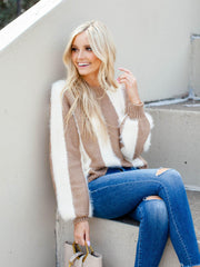 Stripe Fuzzy Knit Sweater Top