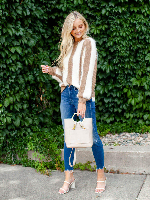 Two-Toned Mixed Textured Sweater