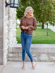 Very J Ribbed Wrap Top