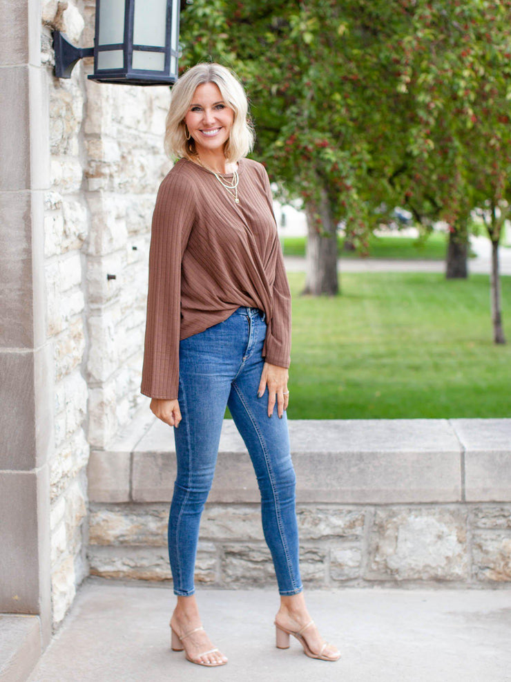 Long Sleeve Rib Wrap Top