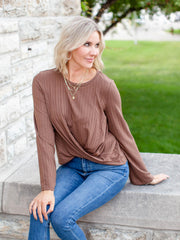 Ribbed Long Sleeve Wrap Front Top