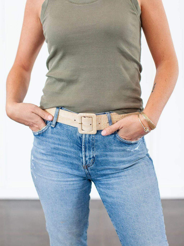 Square Buckle Embossed Belt