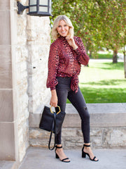 Leopard Print Long Sleeve Smock Neck Blouse