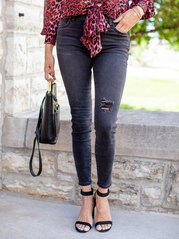 High Rise Destructed Wash Ankle Jean