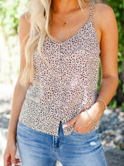 Sanctuary Button Up Leopard Tank