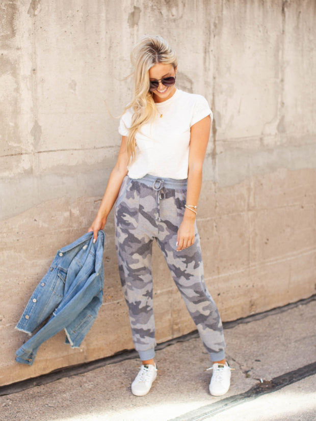 Hem and Thread Camo Jogger Pants