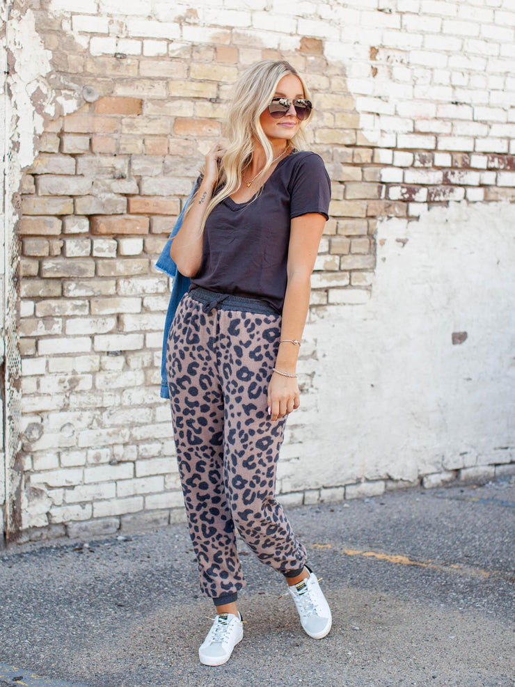 Brushed Hacci Leopard Print Jogger
