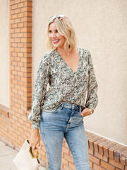 Textured Print V Neck Blouse