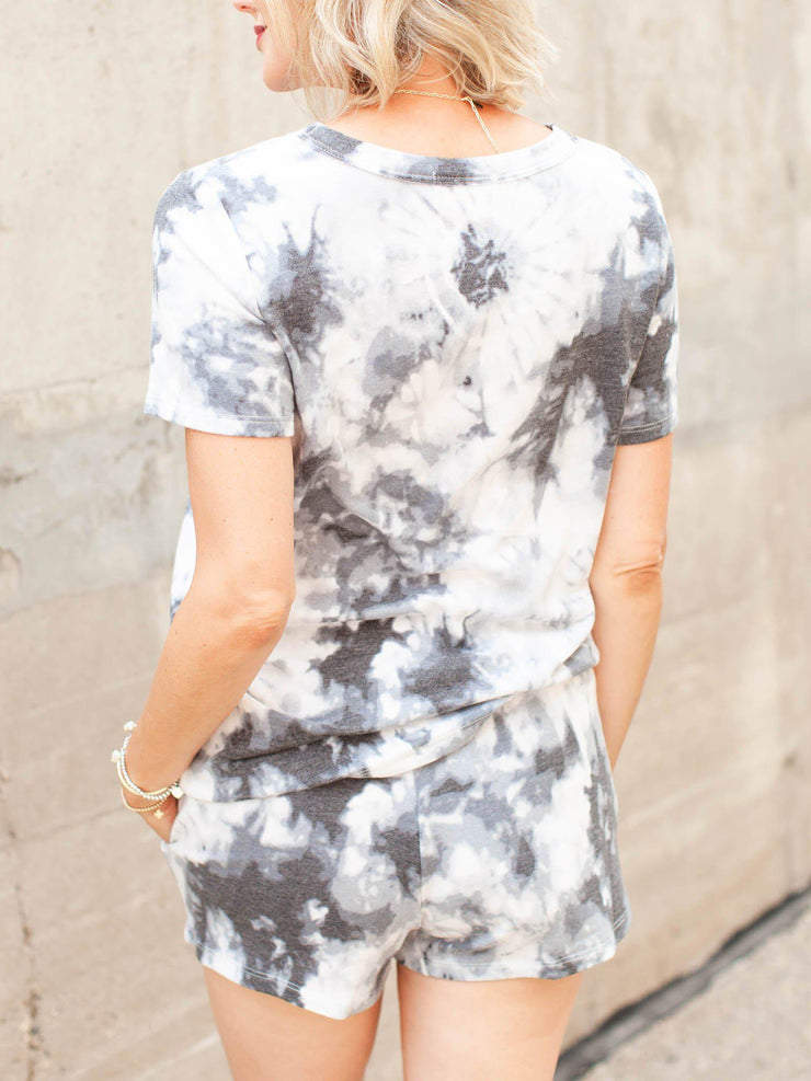 Short Sleeve Round Neck Tie Dye Top