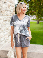 Pocket Drawstring Tie-Dye Shorts