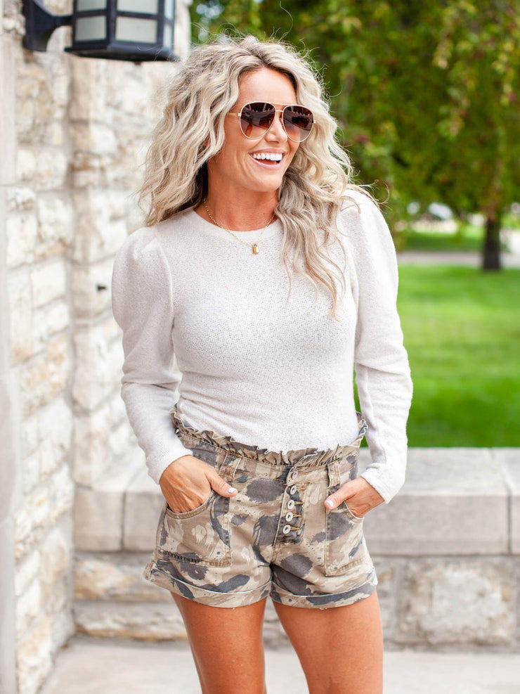 Camo Paper Bag Exposed Button Shorts