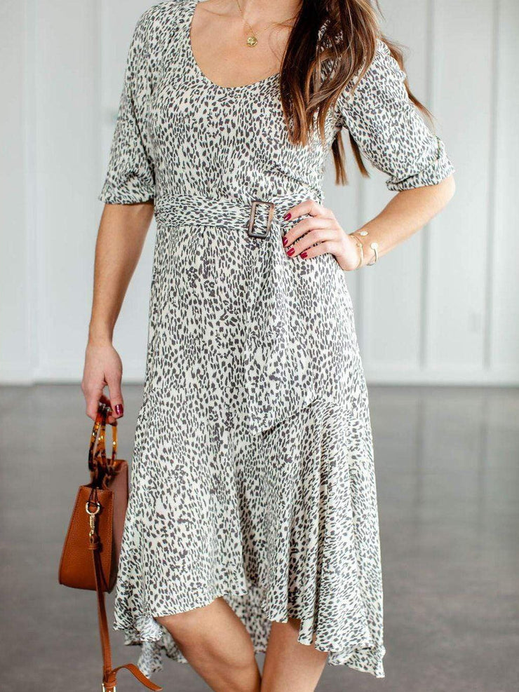 Half Sleeve Belted Animal Print Dress