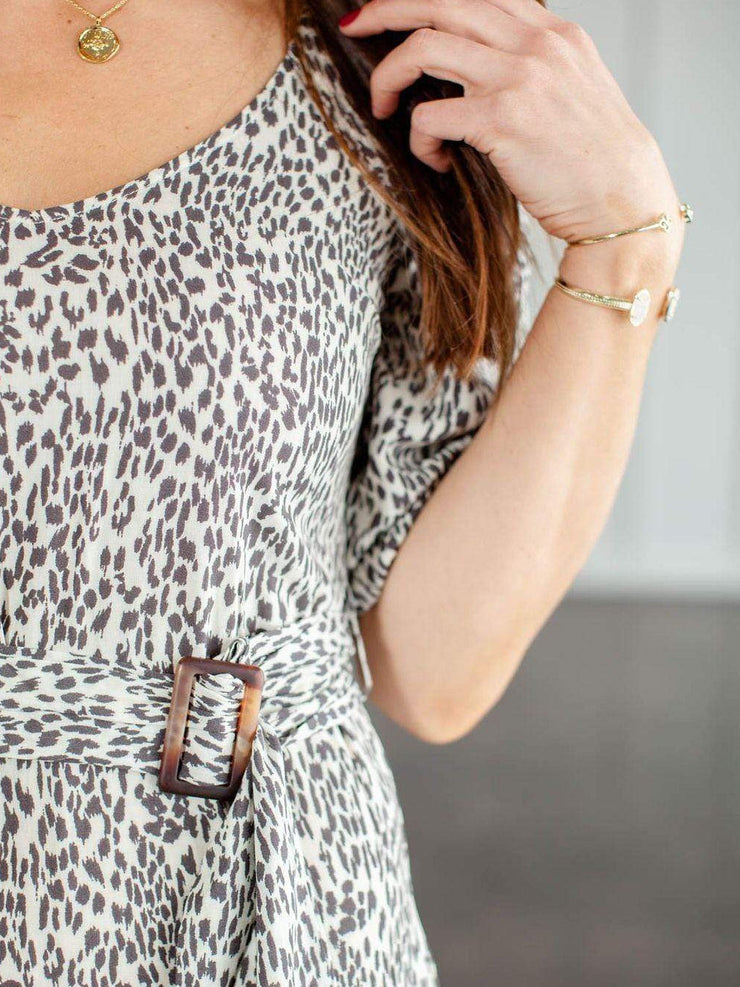 Square Neck Animal Print Belted Midi Dress