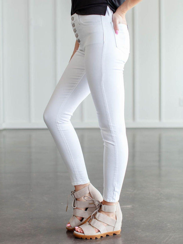 Just Black Button Fly White Denim Jeans