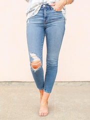 Good American Curve Distressed Cropped Skinny Denim