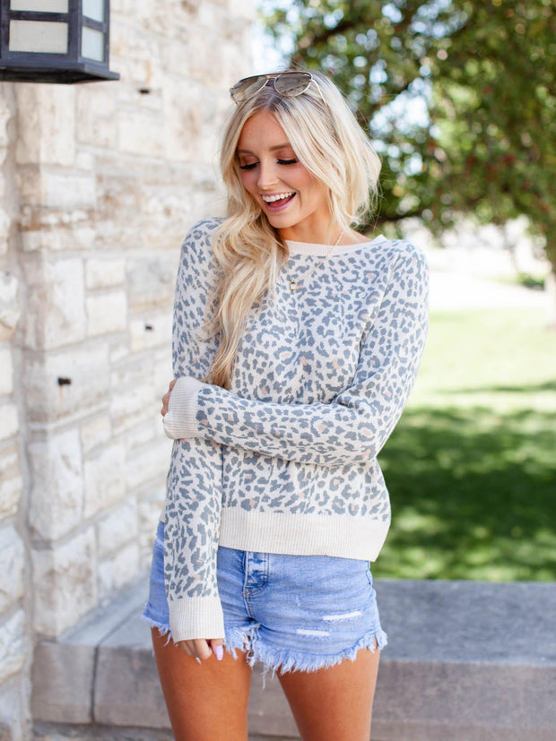Leopard Print Pullover Knit Sweater